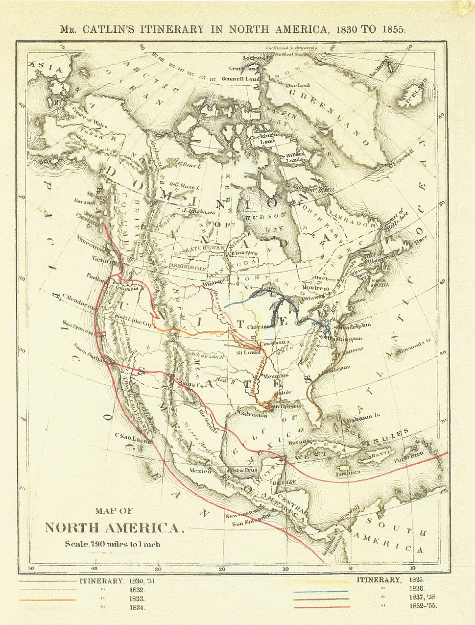 George Catlin's travels in North America, 1830-1855