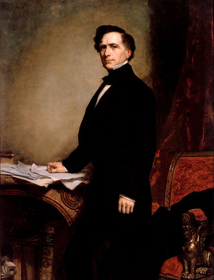Artist: George Peter Alexander Healy, Pierce, seen here in 1858, remained a vocal political figure after his presidency. George P.A. Healy - Franklin Pierce - Google Art Project.jpg