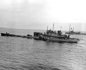 German submarine U-873 - Image: German submarine U 873 being escorted to Portsmouth Navy Yard in May 1945
