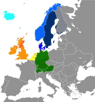 Germanic-speaking Europe - Image: Germanic languages in Europe