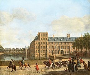 A hunting party near the Hofvijver and Binnenhof in The Hague, seen from the South