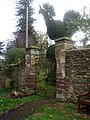 Giant topiary fowl watches Dore Abbey gate - geograph.org.uk - 1621188.jpg