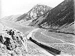 A Gilmore & Pittsburgh train ascending the western approach to Bannock Pass in August 1912