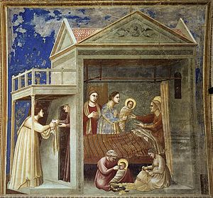 Giotto di Bondone - No. 7 Scenes from the Life of the Virgin - 1. The Birth of the Virgin - WGA09179.jpg