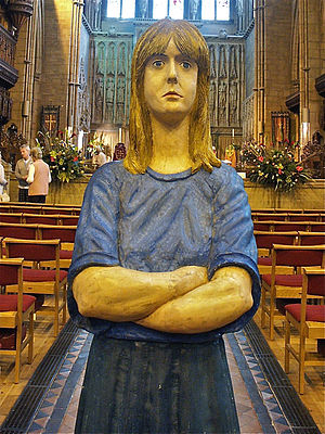 Robert Koenig (sculptor) - Figure in green skirt, lifesize polychromed limewood, exhibited at All Saints Church, Hove during Brighton Arts Festival May 2006 by sculptor Robert Koenig