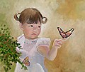 Girl with Butterfly Oil 2010 by DavidFairrington Oil 2010.jpg