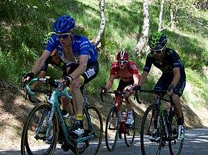 Steven Kruijswijk - Kruijswijk (left), wearing the maglia azzurra of mountains classification leader, at the 2015 Giro d'Italia