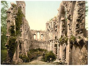 Glastonbury Abbey - Photochrom image taken around 1900, showing the unrestored interior of the Lady Chapel.