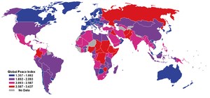 International rankings of New Zealand - World map of the Global Peace Index. Countries appearing more blue are ranked as more peaceful on the Index, countries appearing more red are ranked as less peaceful.