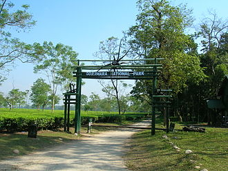 Dooars - Gorumara National Park entrance gate; Tourism is an important source of income for the residents