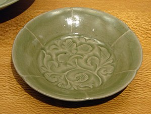 Celadon - Yaozhou ware bowl with carved and combed decoration, Northern Song