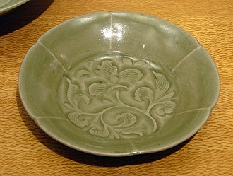 Celadon - Yaozhou ware bowl with carved and combed decoration, Northern Song dynasty