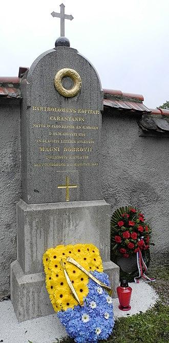 Jernej Kopitar - Gravestone of Jernej Kopitar in Navje memorial park in Ljubljana.