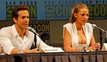 Lively with future husband Ryan Reynolds, promoting Green Lantern at Comic-Con 2010.
