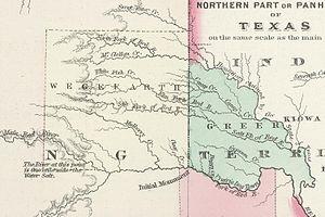 Greer County, Texas - Map of Greer and Wegefarth counties in 1874.