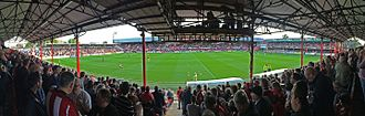 Griffin Park - Griffin Park pictured from the New Road stand, September 2015.