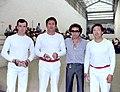 Grup de pilotaris. Avellaneda, Josep Sanvenancio Merino -Eusebio-, Wyski i Vicentico (Arxiu Ismael Latorre Mendoza-País Valencià).jpg