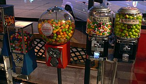Gumball machine - An assortment of modern gumball machines on location in a Dallas storefront.