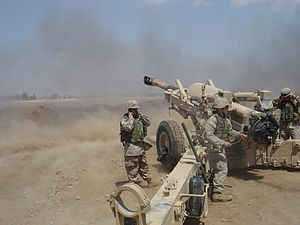 11th Marine Regiment (United States) - Marines from A/1/11 firing their M198 Howitzer from Camp Fallujah, Iraq during Operation Vigilant Resolve in April 2004.