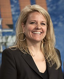 Gwynne Shotwell at pre-launch briefing for CRS-2 mission (KSC-2013-1704).jpg