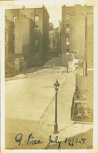 Riceyman Steps - Granville Place in 1924, with 'Riceyman Steps' leading up to Granville Square.