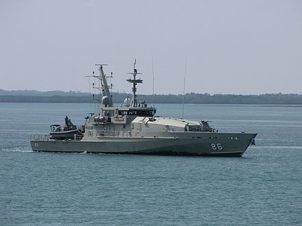 The Navy's Armidale class patrol boats (HMAS Albany pictured) are mainly used for border and fisheries patrol tasks HMAS Albany 2010.jpg