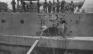 HMS Warspite (03) - Damage caused by a shell exploding inside the ship at Jutland