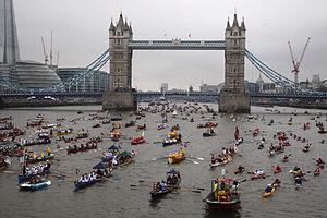 Thames Diamond Jubilee Pageant - Hundreds of vessels pass Tower Bridge