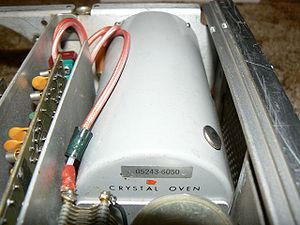 Crystal oven - An OCXO inside an HP digital frequency counter.