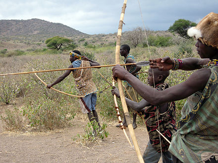 The Hadza live as hunter-gatherers. Hadzabe Hunters.jpg