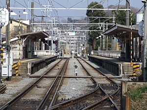 Hakone Tozan Line - Dual-gauge section at Iriuda Station
