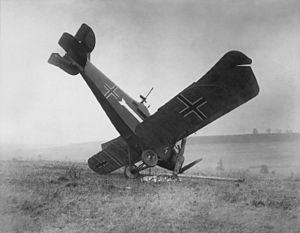 Hannover CL.III - A German Hannover CL.III shot down by American machine gunners in the First World War.