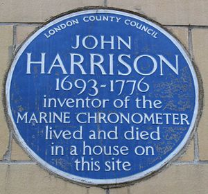 This blue plaque remembering John Harrison is ...
