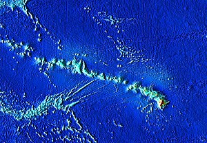 Hawaiian–Emperor seamount chain - The Hawaiian-Emperor seamount chain, zoomed in on the current habitable islands