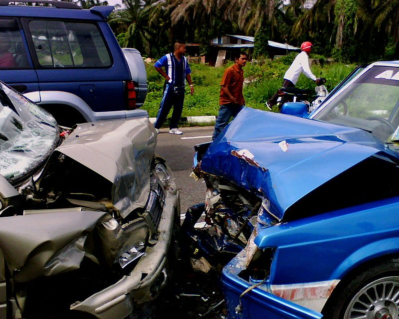 The front ends of two vehicles after an accident