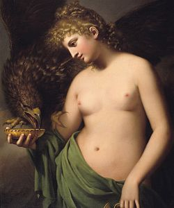 Hebe offering cup to Jupiter in form of eagle by Gaspare Landi (1790)