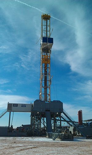 North Dakota oil boom - A Helmerich & Payne flex rig drilling the Bakken.