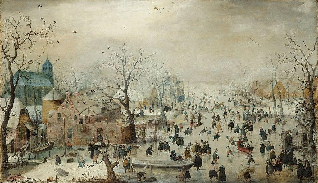 Paysage hivernal avec patineurs (1608). Toile d'Avercamp au Rijksmuseum d'Amsterdam.