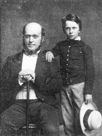Henry James - Henry James, age 11, with his father, Henry James Sr.—1854 daguerreotype by Mathew Brady