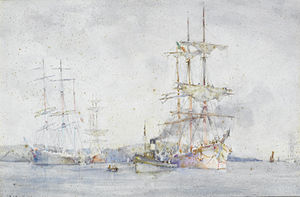 Henry Scott Tuke - Italian barque being towed to moorings in the Carrick Roads (Towing into Falmouth harbour).jpg