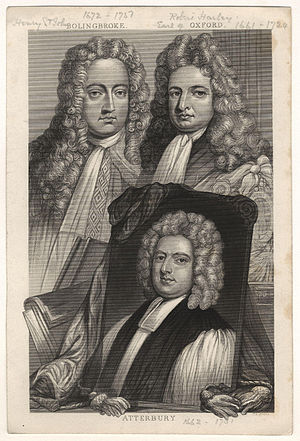 Robert Harley, 1st Earl of Oxford and Earl Mortimer - Oxford (right), together with his friend and ally Henry St John, 1st Viscount Bolingbroke and a portrait of Francis Atterbury. Engraving after a painting by Sir Godfrey Kneller.
