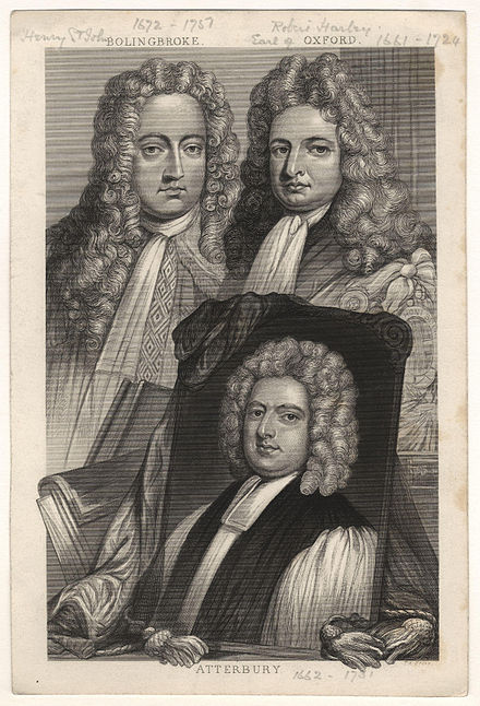 Oxford (right), together with his friend and ally Henry St John, 1st Viscount Bolingbroke and a portrait of Francis Atterbury. Engraving after a painting by Sir Godfrey Kneller. Henry St John, 1st Viscount Bolingbroke; Robert Harley, 1st Earl of Oxford; Francis Atterbury by Sir Godfrey Kneller, Bt.jpg