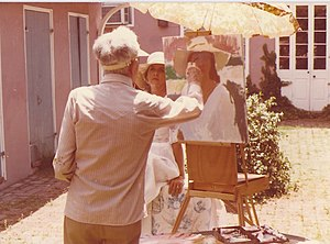 Henry Hensche - Hensche painting in the French Quarter, circa 1975