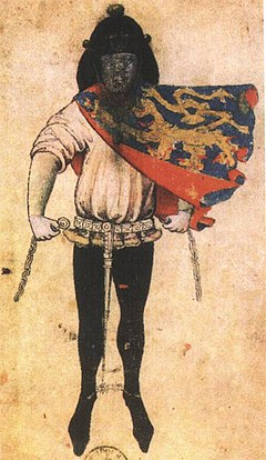 Guelders officer of arms wearing a tabard of the shield, ca. 1395 Herald Gelre of the Duke of Gueldres.jpg