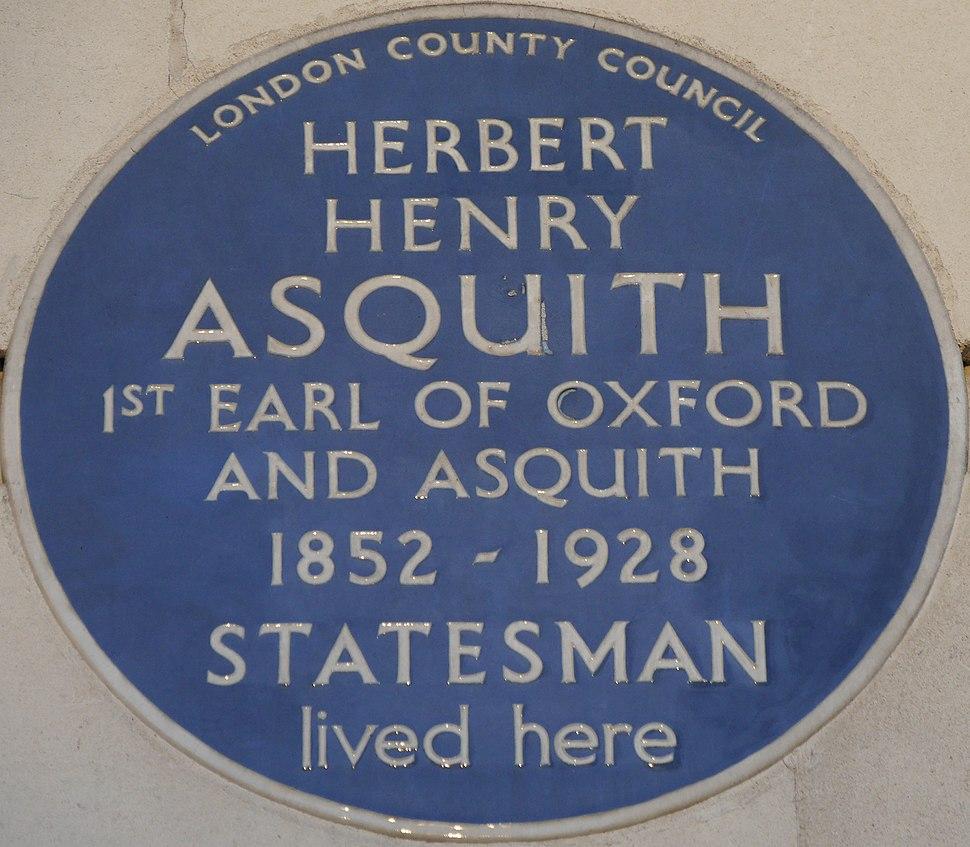 Herbert Henry Asquith 20 Cavendish Square blue plaque