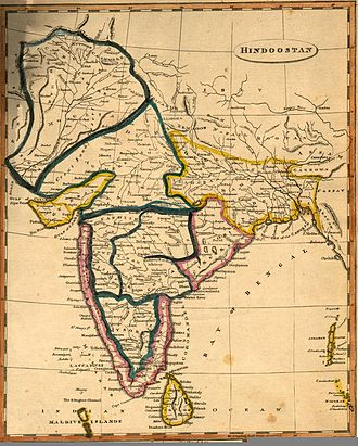 Kandyan Wars - The Indian subcontinent on the eve of the Second Kandyan War; the entirety of Sri Lanka is shown as being under British control, when in fact the kingdom of Kandy endured in the mountainous interior.