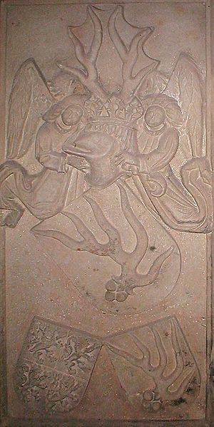 Hirschhorn (Neckar) - Grave plate of Hans V of Hirschhorn, local lord about 1400