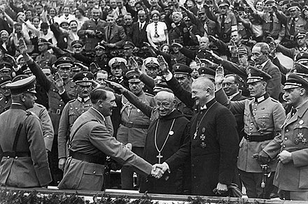 Hitler shaking hands with Catholic dignitaries in Germany in the 1930s