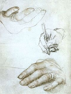 Holbein's studies of Erasmus' hands, in silverpoint and chalks, ca. 1523. (Louvre)