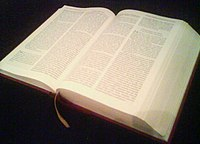 A large Bible, open